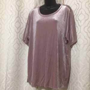 Rose Velvet Short Sleeve Blouse